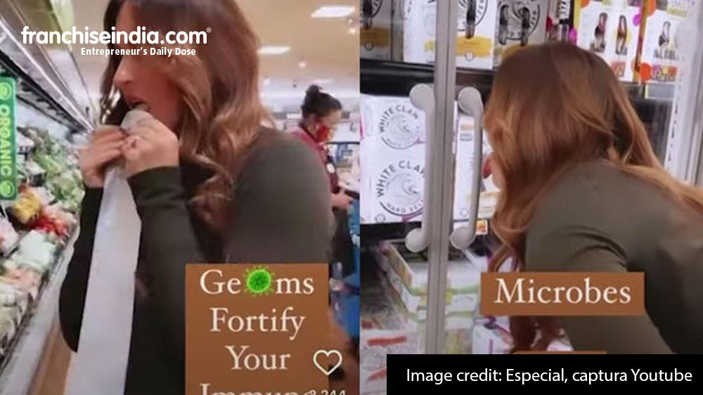 A woman licks products in a supermarket to 'strengthen' her immune system: video