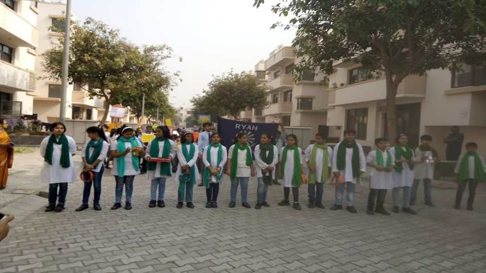 Wave City organizes Anti-crackers rally with Ryan International School Ghaziabad