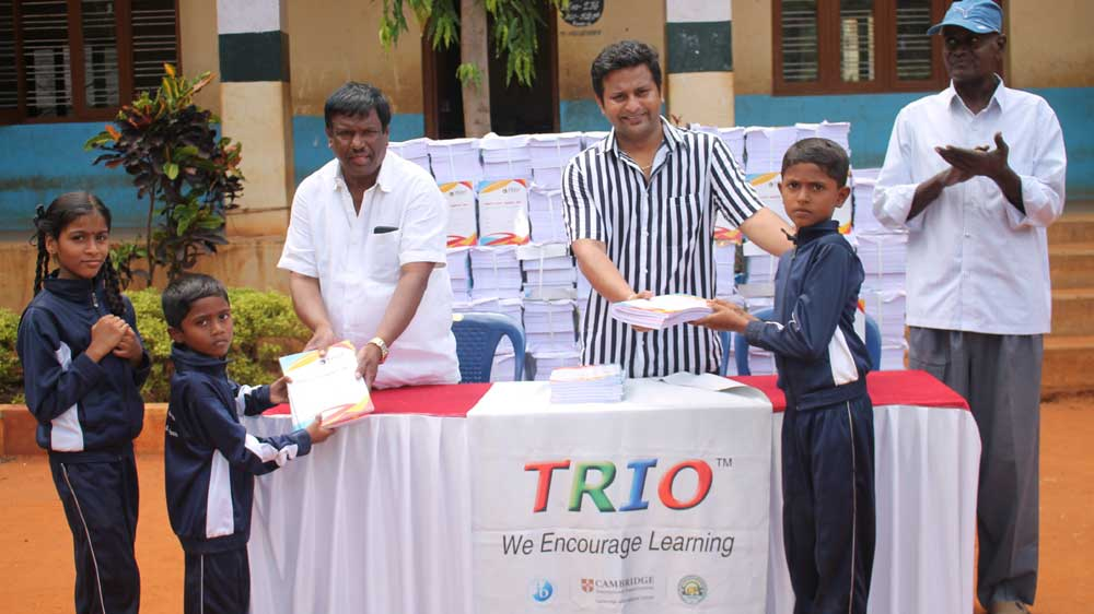 Trio World Academy launched notebook donation drive at Kodigehalli Government Primary School
